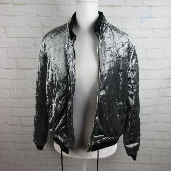 Ci Sono Jackets Coats Silver Velvet Quilted Varsity Jacket